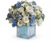 Baby's First Block by Teleflora - Blue in Rochester NY, Red Rose Florist & Gift Shop