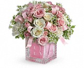 Baby's First Block by Teleflora - Pink in North Las Vegas NV, Betty's Flower Shop, LLC