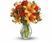 Fiery Lily and Rose in Fort Wayne IN, Flowers Of Canterbury, Inc.