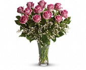 Make Me Blush - Dozen Long Stemmed Pink Roses in Burnaby BC, Lotus Flower Boutique