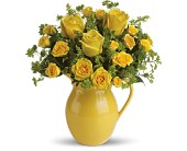 Teleflora's Sunny Day Pitcher of Roses in Burlington WI, gia bella Flowers and Gifts