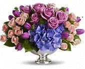 Teleflora's Purple Elegance Centerpiece in Rush NY, Chase's Greenhouse
