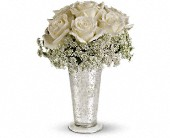 Teleflora's White Lace Centerpiece in Johnson City, New York, Dillenbeck's Flowers