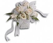 White Whisper Wristlet in Lindenhurst, New York, Linden Florist, Inc.