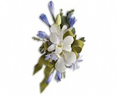 Blue and White Elegance Corsage in Woodstock ON, Floral Buds & Design