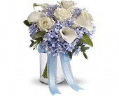 Love in Blue Bouquet in East Quogue NY, Roses And Rice