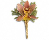 Sunset Orchid Boutonniere in New Glasgow NS, Zelda's Flower Studio
