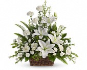 Peaceful White Lilies Basket in Glovertown, Newfoundland, Nancy's Flower Patch