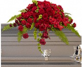 Red Rose Sanctuary Casket Spray in Muskegon MI, Wasserman's Flower Shop