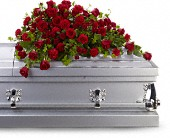 Red Rose Reverence Casket Spray in Crivitz WI, Sharkey's Floral and Greenhouses