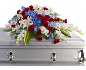 Distinguished Service Casket Spray in Ammon ID, Petal Passion