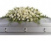 Purity and Peace Casket Spray in Mount Morris MI, June's Floral Company & Fruit Bouquets