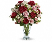 Cupid's Creation with Red Roses by Teleflora in Mississauga ON, Mums Flowers