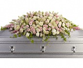 Always Adored Casket Spray in East Quogue NY, Roses And Rice