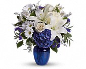 Beautiful in Blue in Menomonee Falls, Wisconsin, Bank of Flowers
