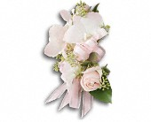Beautiful Blush Corsage in Waldron AR, Ebie's Giftbox & Flowers