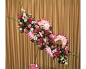 Fresh Double Heart Funeral Easel in Kentwood LA, Glenda's Flowers & Gifts, LLC
