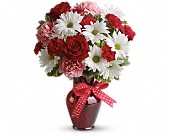 Hugs and Kisses Bouquet with Red Roses in Pella IA, Thistles