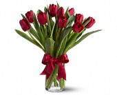 Radiantly Red Tulips in Bossier City LA, Lisa's Flowers & Gifts