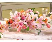 Pink & Peach Centerpiece in Highland Park IL, Weiland Flowers