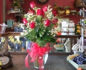 One dozen red rose in  garden vase. in Camden AR, Camden Flower Shop