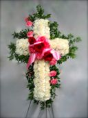 White and Pink Serenity Cross in Philadelphia PA, Paul Beale's Florist