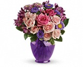 Teleflora's Purple Medley Bouquet with Roses in Brooklyn NY, Artistry In Flowers