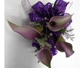 Purple Mini Calla Lily Corsage in Smyrna GA, Floral Creations Florist