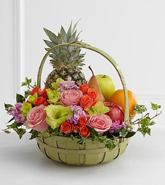 The FTD� Rest in Peace� Fruit & Flowers Basket in Highlands Ranch CO, TD Florist Designs