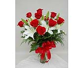 1 Dozen Roses Arranged w/Oriental lilies in Utica NY, Chester's Flower Shop And Greenhouses