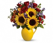 Teleflora's Sunny Day Pitcher of Joy in San Bruno CA, San Bruno Flower Fashions