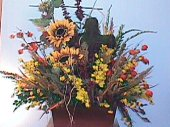 Autumn alter arrangement with cross in Camden AR, Camden Flower Shop