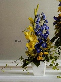 Blue and Yellow Memorial Arrangement in Roselle IL, Roselle Flowers