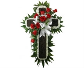 Rustic Cross, Carnations and Roses in Indianapolis IN, Steve's Flowers & Gifts