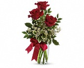 Thoughts of You Bouquet with Red Roses in Pella IA, Thistles