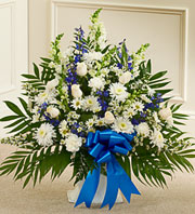 Blue and White Sympathy Floor Basket in Chicago IL, Sauganash Flowers