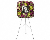 Mosaic of Memories Square Easel Wreath in Austin TX, Ali Bleu Flowers