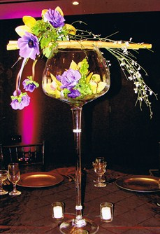 Wine Glass Centerpiece in Cerritos CA, The White Lotus Florist
