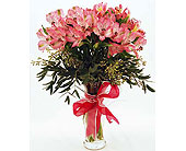 Pink-Alstroemeria-with-Pink-Bow in San Clemente CA, Beach City Florist
