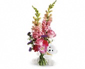 Teleflora's Bear Hug Bear with Pink Roses in Oklahoma City, Oklahoma, Capitol Hill Florist and Gifts