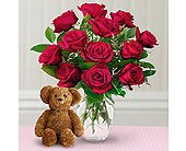 Dozen Roses with a Bear in Burnaby BC, Lotus Flower & Terra Plants