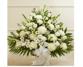 Heartfelt Tribute Floor Basket Arrangement - White in Watertown CT, Agnew Florist