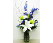 Purple, Green, and White Arrangement - One-Sided in Wyoming MI, Wyoming Stuyvesant Floral