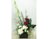 Red and White Styled Arrangement - 4x4 Bamboo Cube in Wyoming MI, Wyoming Stuyvesant Floral