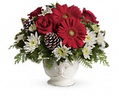 Teleflora's Simply Merry Centerpiece in Waldron AR, Ebie's Giftbox & Flowers
