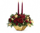 Teleflora's Crimson and Gold Centerpiece in Oakland CA, Lee's Discount Florist