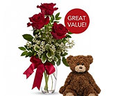 Buds and Blooms 3 Red Roses with Plush Bear in Federal Way WA, Buds & Blooms at Federal Way