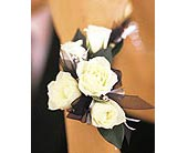 5 White Mini Roses Wristlet in Southampton PA, Domenic Graziano Flowers