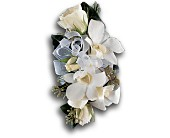 White Rose and Orchid Corsage in Penetanguishene ON, Arbour's Flower Shoppe Inc