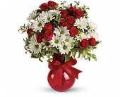Red White And You Bouquet by Teleflora in San Jose CA, Rosies & Posies Downtown